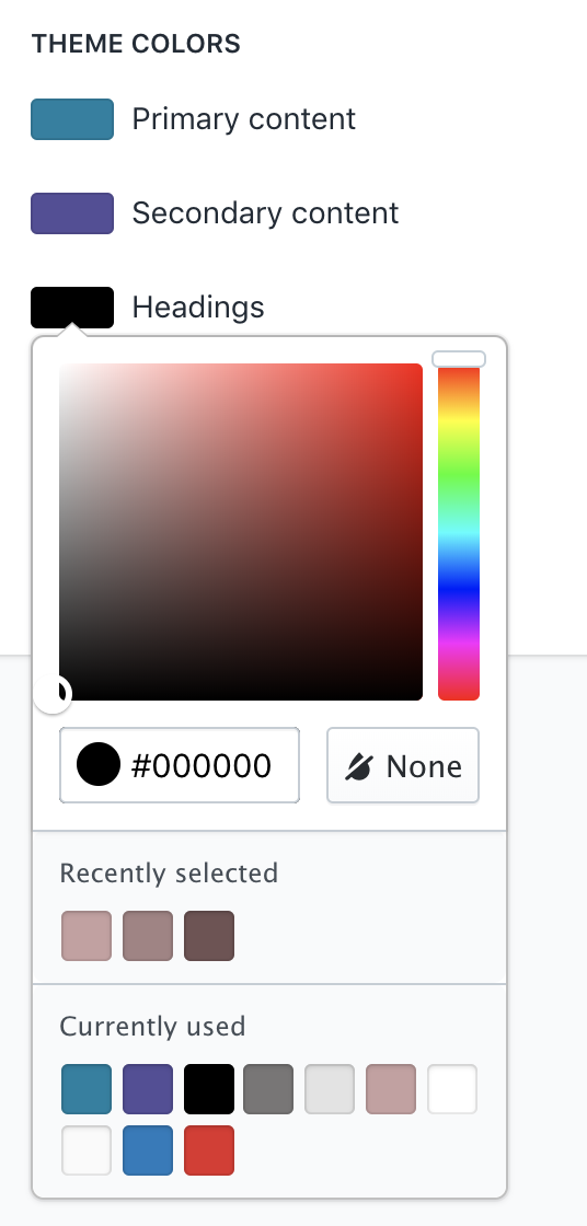 Theme colors in theme settings