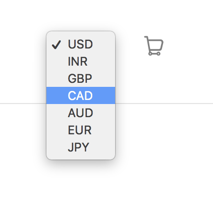 Currency converter in launch ehader