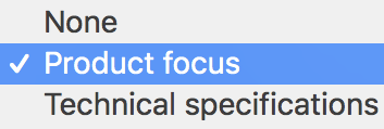 Product focus selected in theme settings