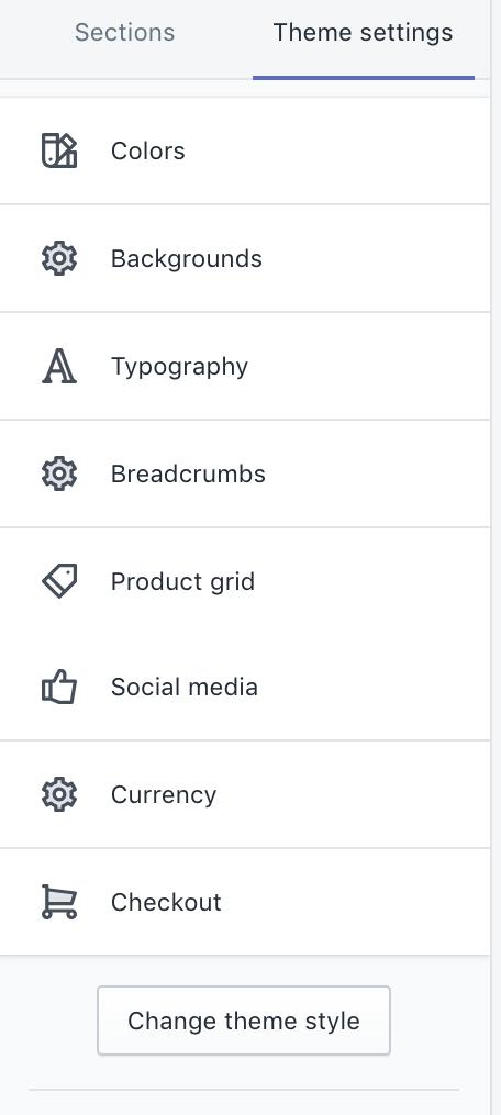 Theme settings in Startup theme editor
