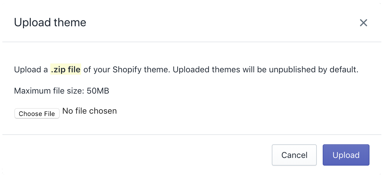 Upload theme pop-up with Pacific theme added