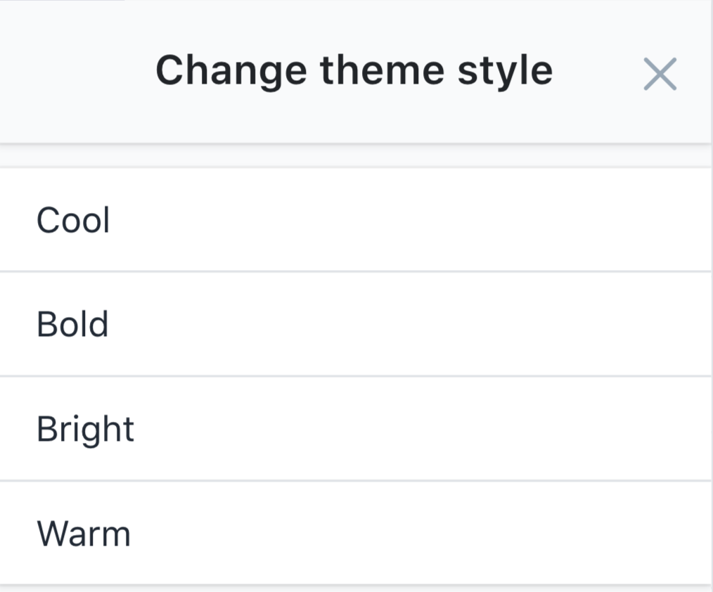 change theme style menu showing cool, bold, bright, and warm styles