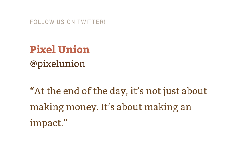 Example tweet from Pixel Union
