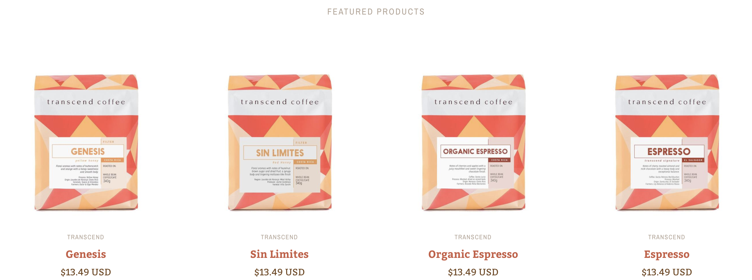Four products displayed by Featured collection