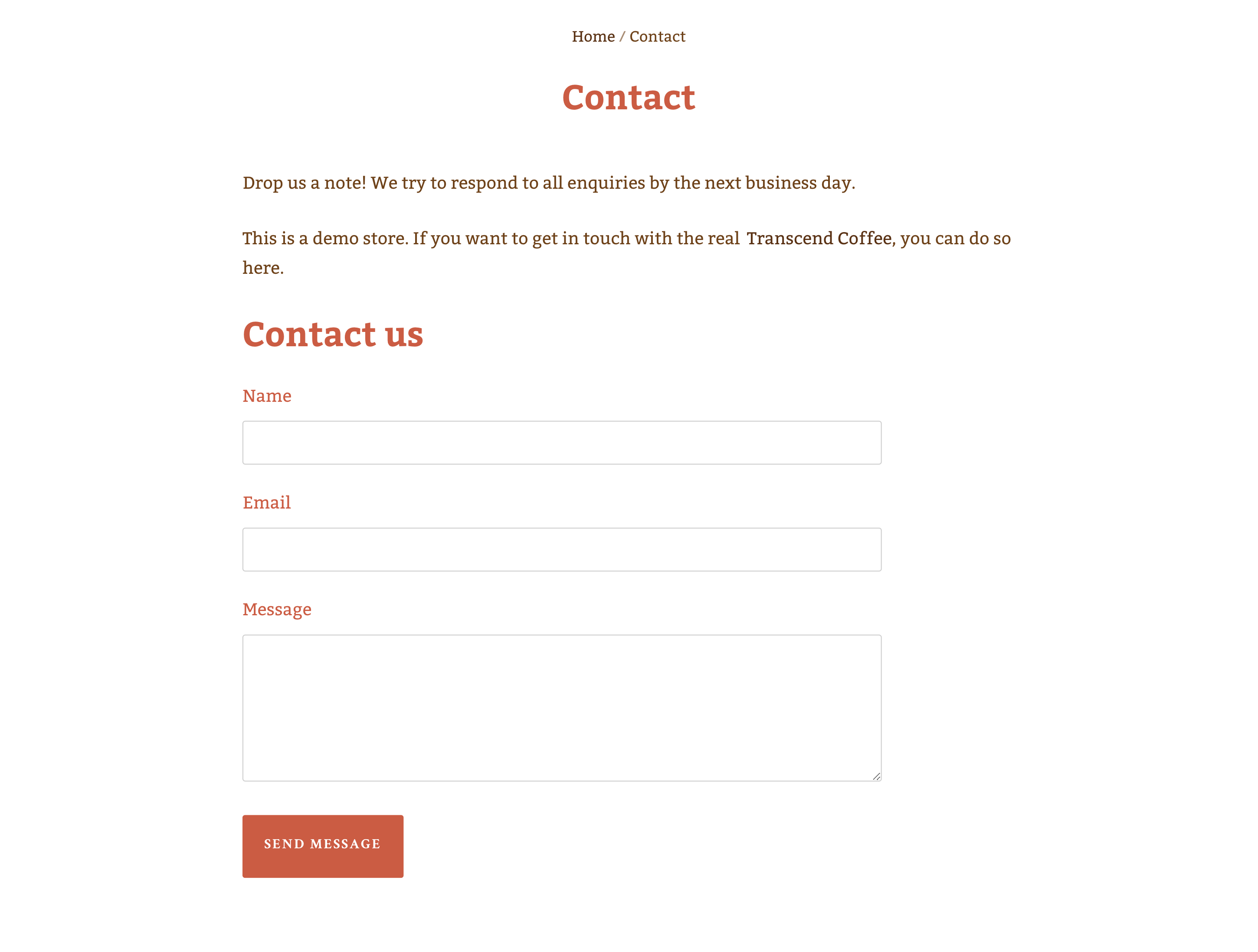 Contact page template's fields for name, email, and message
