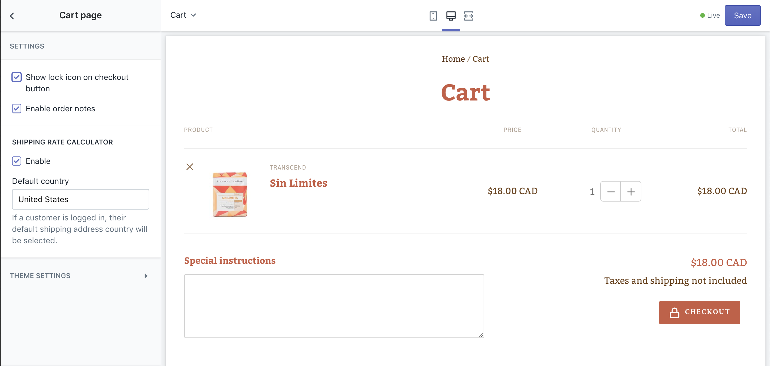 Cart page being edited in the theme editor