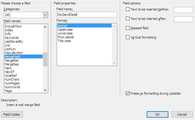 Merge fields in Word for Windows