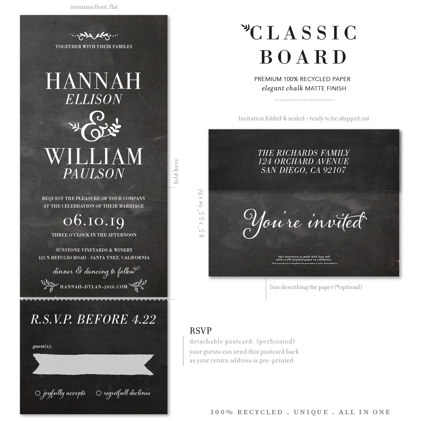 Classic Board chalk send and sealed invitations