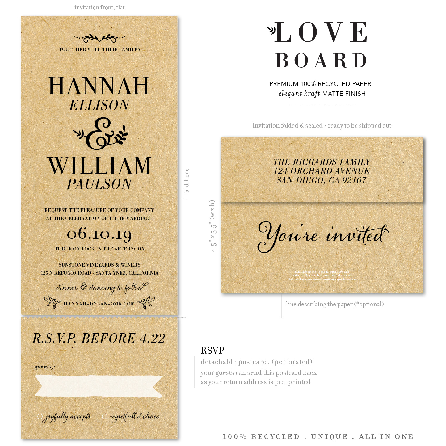 Love Board kraft paper send and sealed invitations