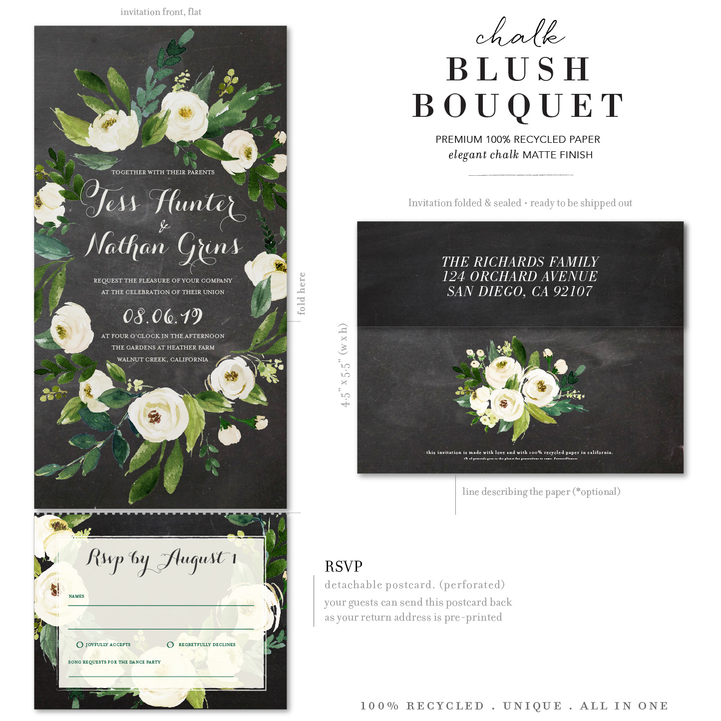 pink white blush flower chalk invitations