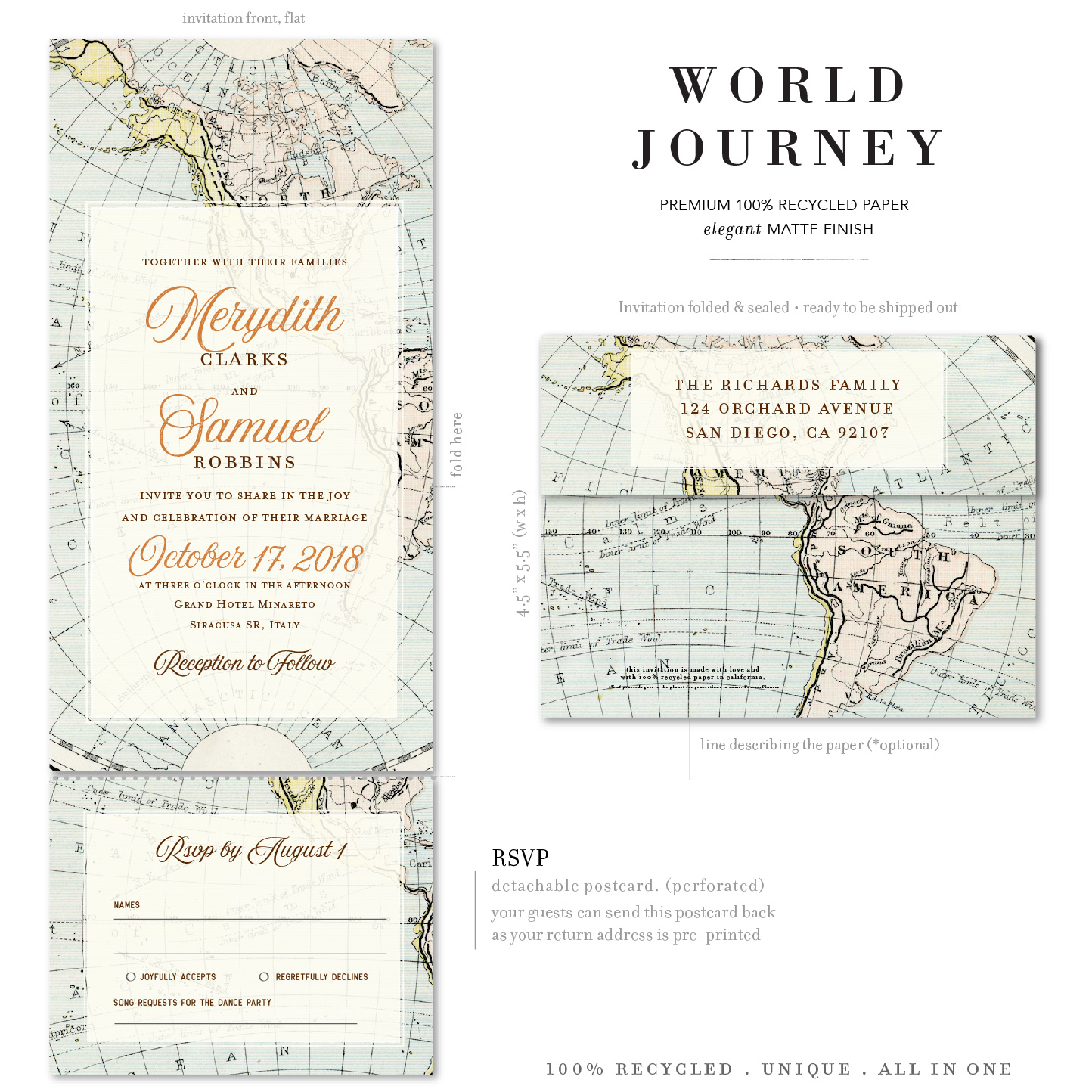World map send and sealed invitations
