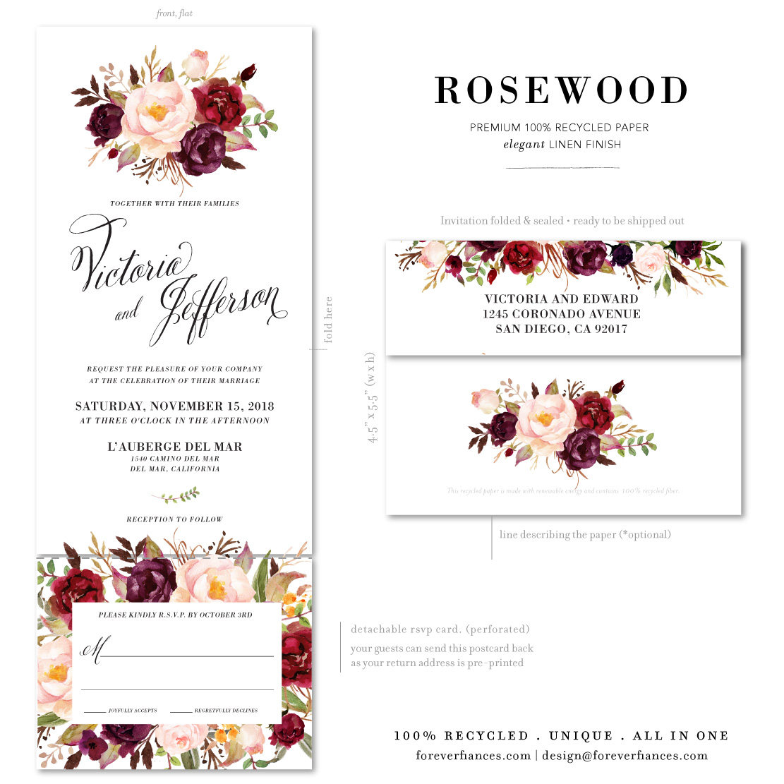 Red and White watercolor wedding invitations