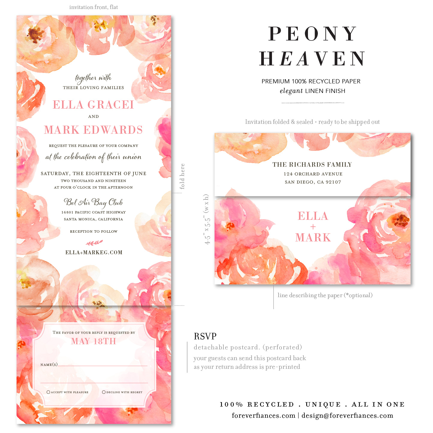 peony Heaven wedding invitations