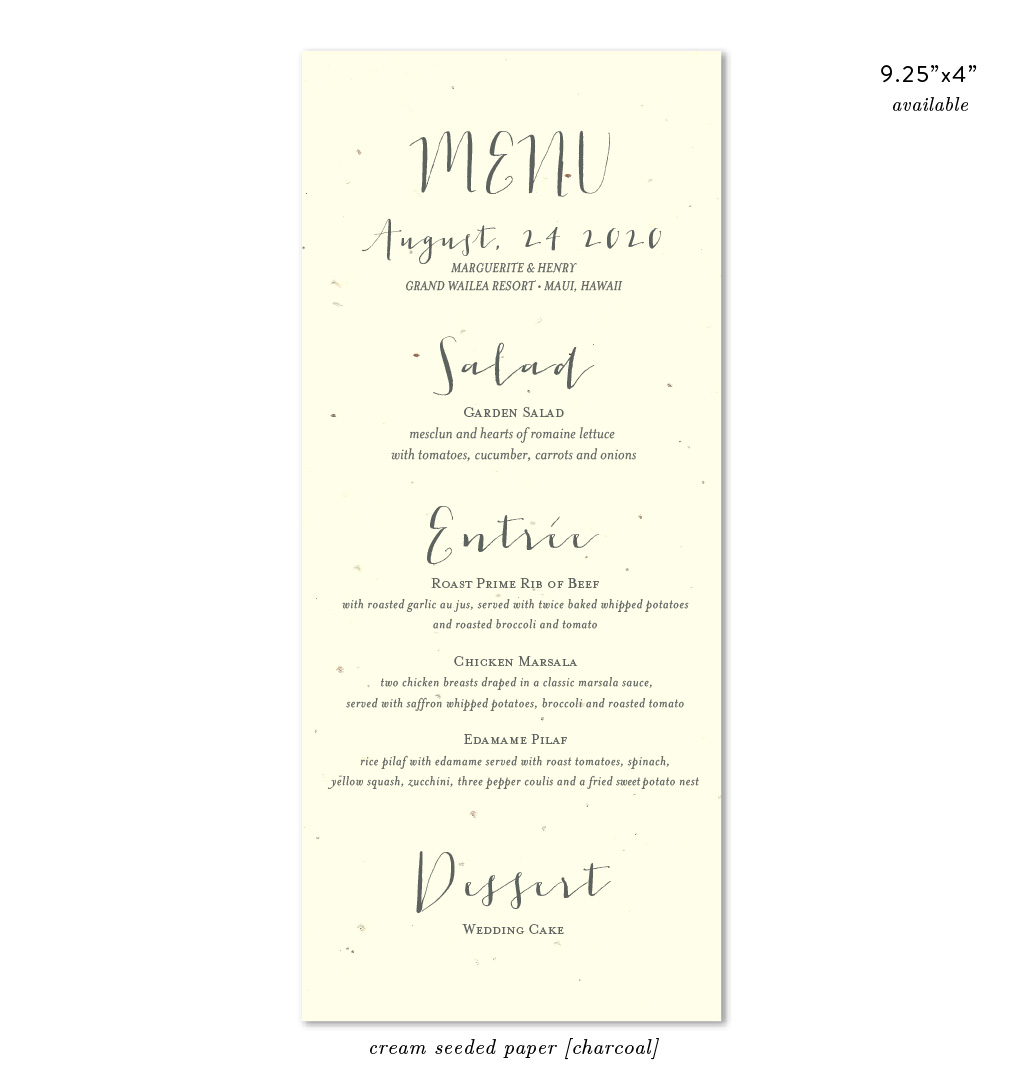 Organic wedding menus