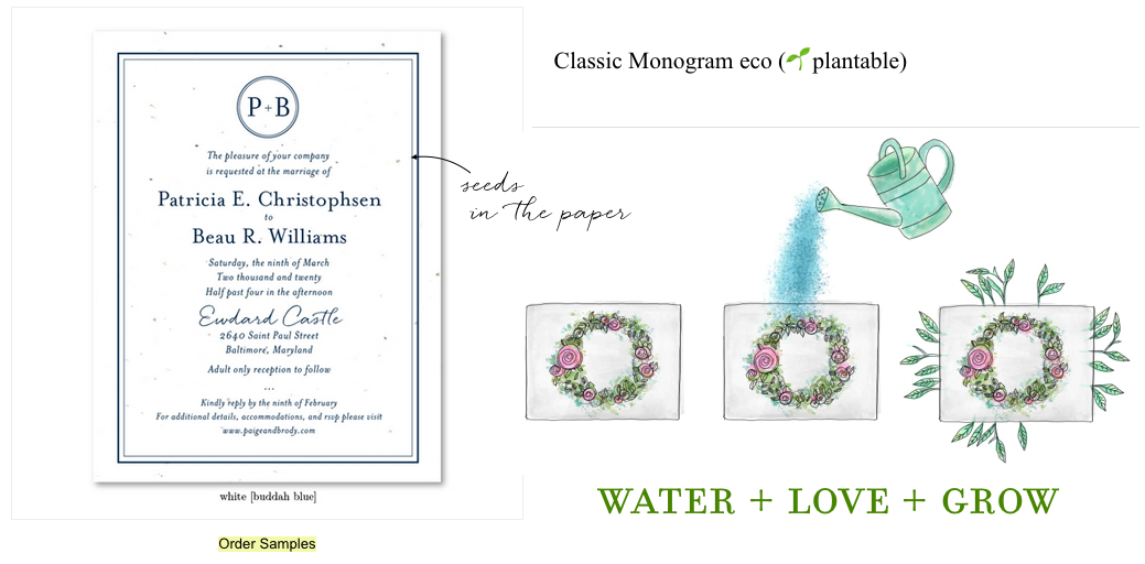Monogram wedding invitations seeded paper