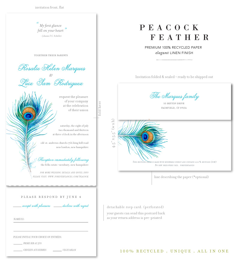 peacock wedding invitations send and sealed