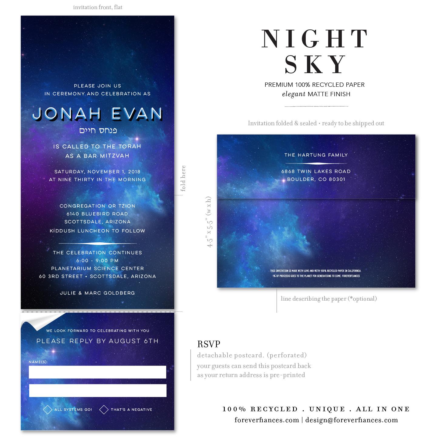 galaxy bar mitzvah invitations