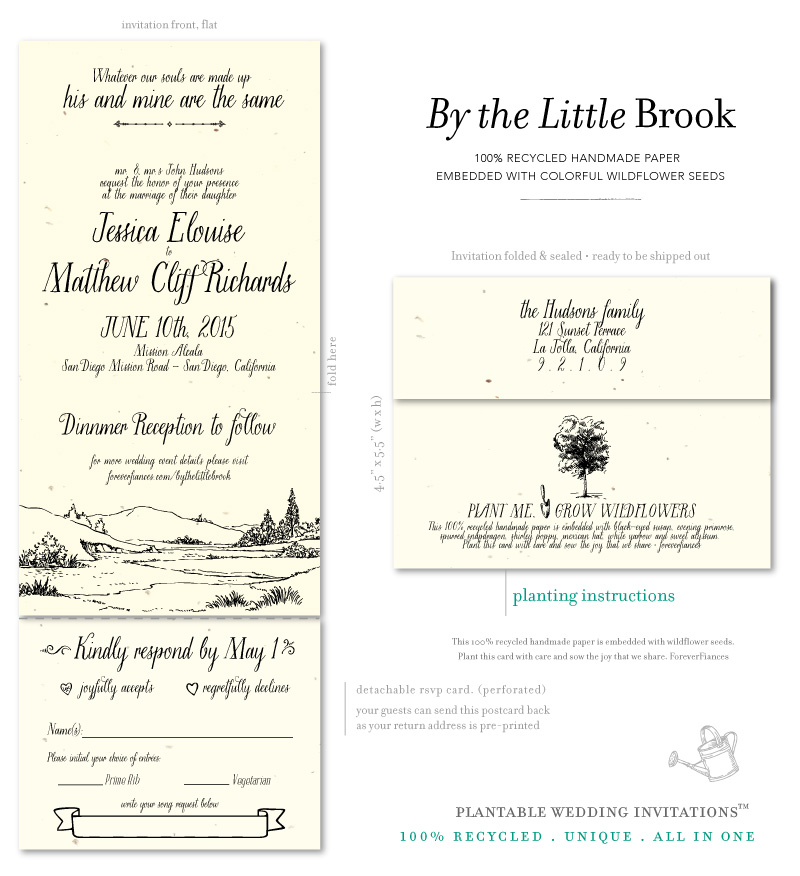 natural Wedding Invitations brook