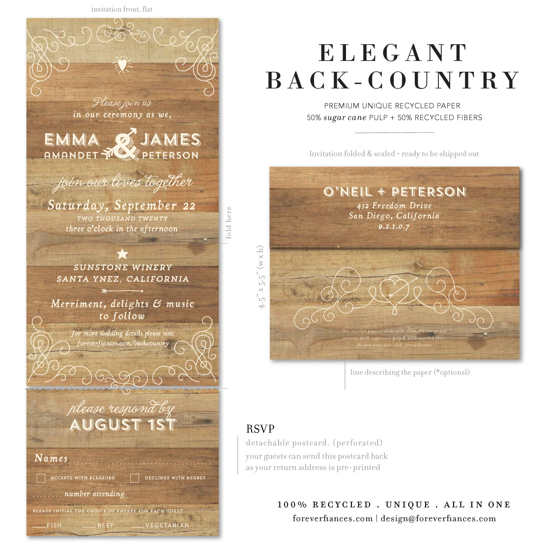 elegant back country wedding invitations