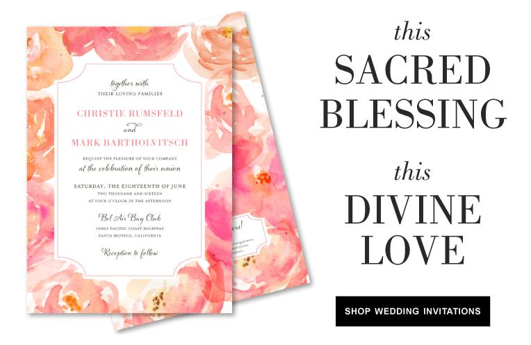 peonies wedding invitations