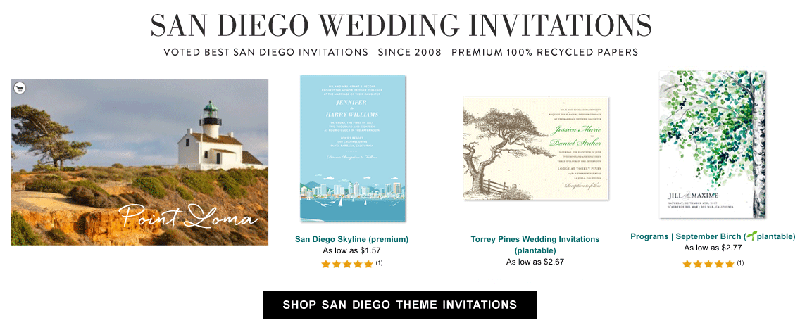 shop san diego wedding invitations
