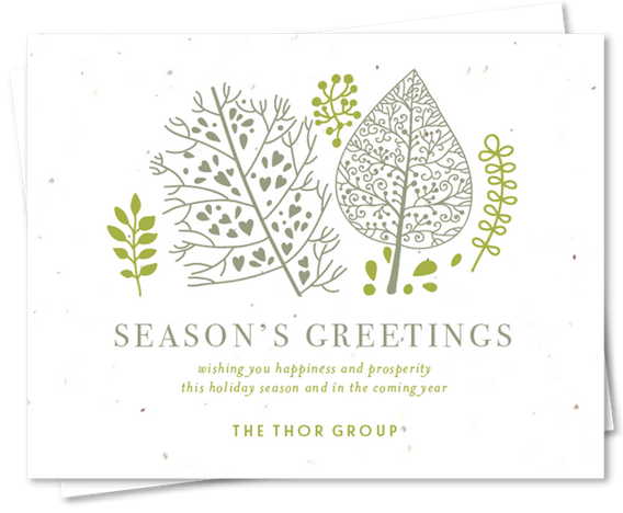 artistic green holiday card from green business print