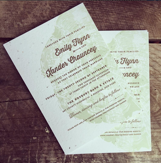wood ring wedding invitations