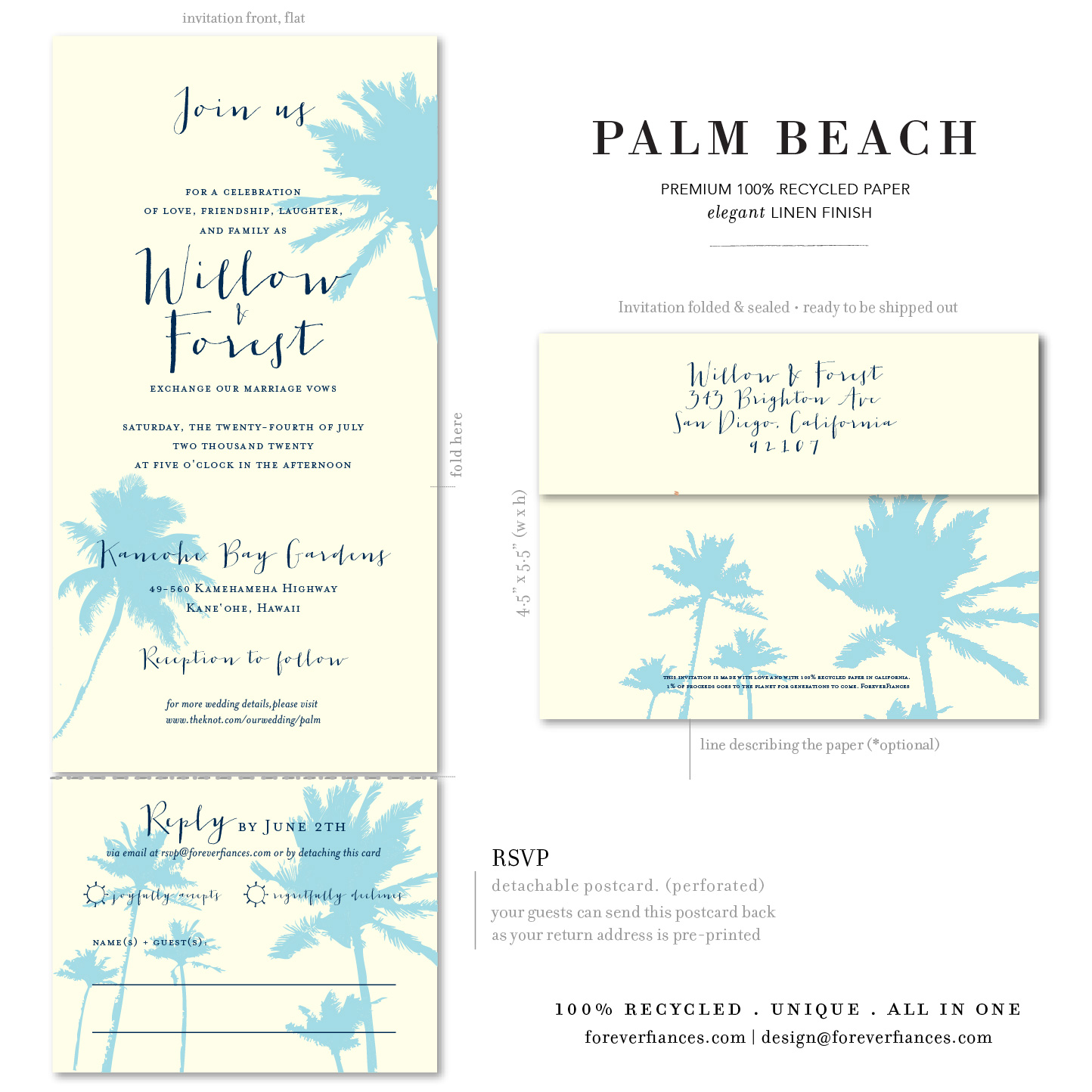 palm tree beach wedding invitations