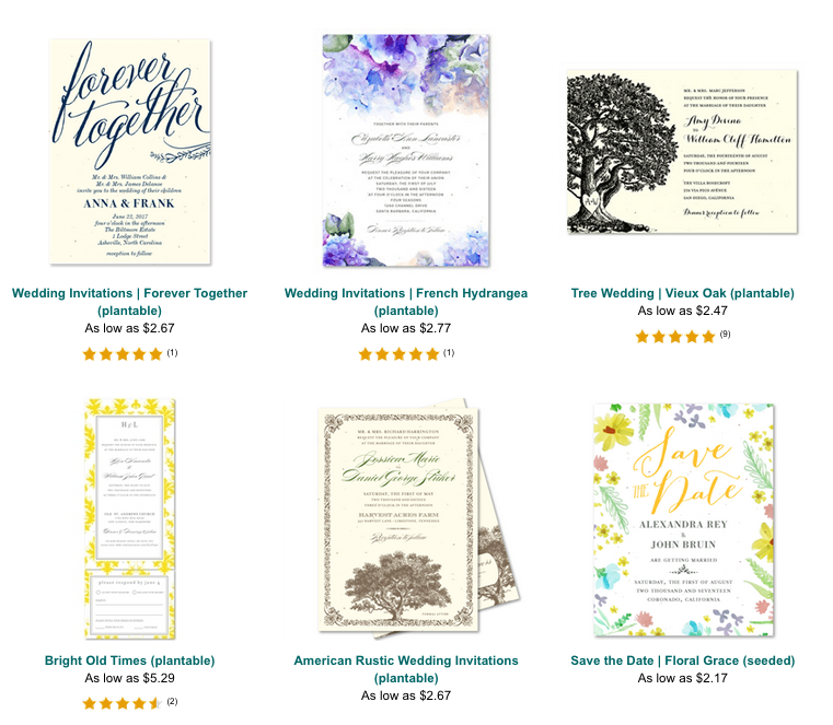 plantable wedding invitation seeded