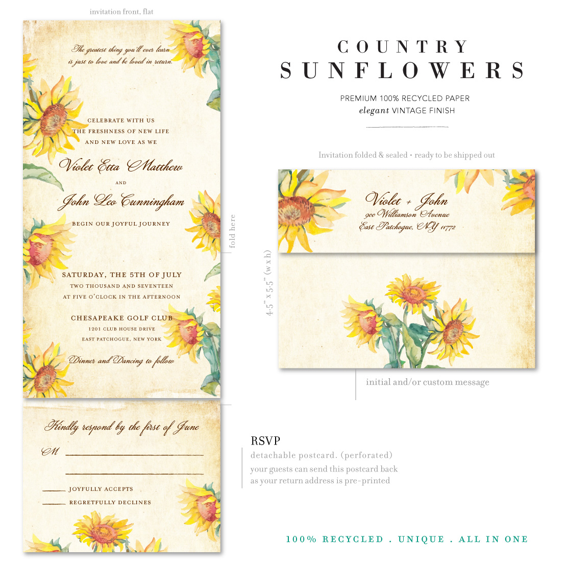 Vintage Country Sunflowers wedding invitations