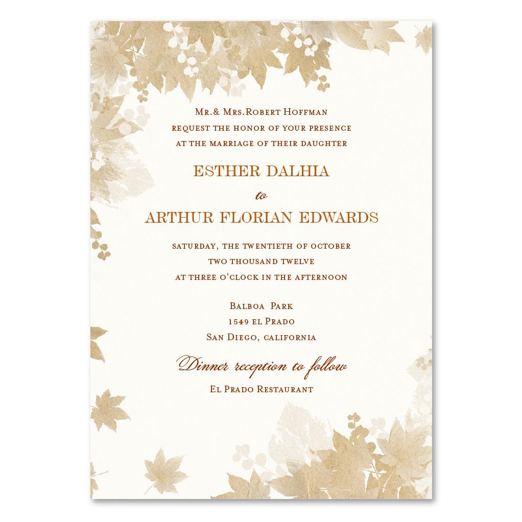 Vintage Fall wedding invitations