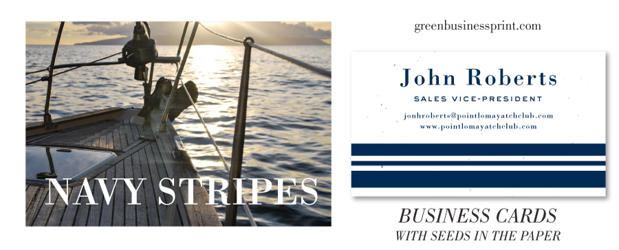 navy stripes business cards
