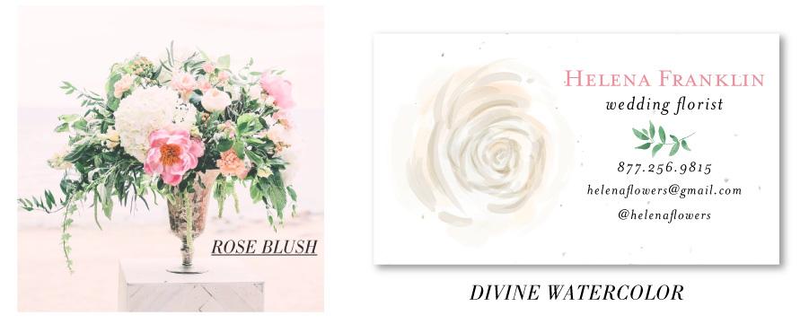 blush pink rose business cards