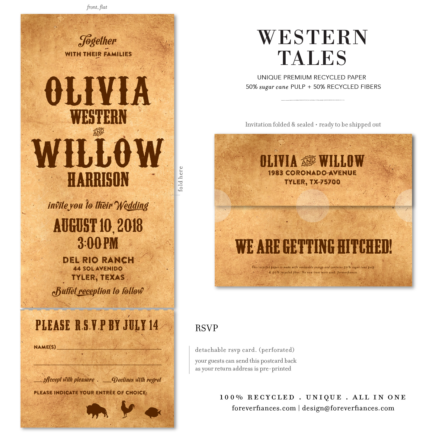 western wedding invitations tales