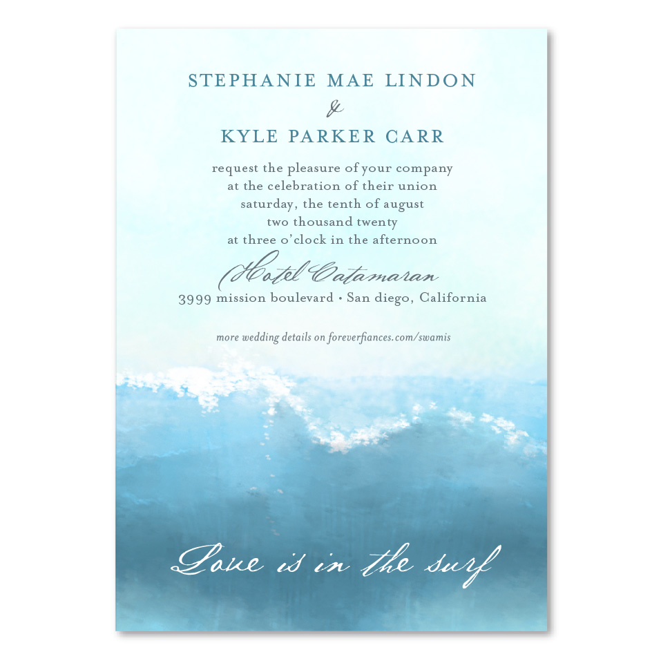 surf wedding invitations swamis