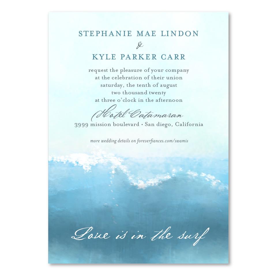 surf wedding invitations swamis