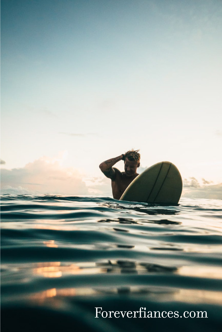surfer on board waiting for waves