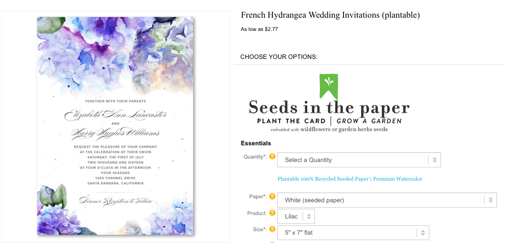 french hydrangea wedding invitations