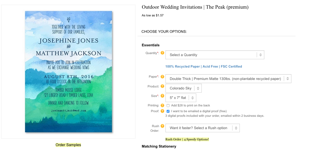 Outdoor wedding invitations Peak Mountain