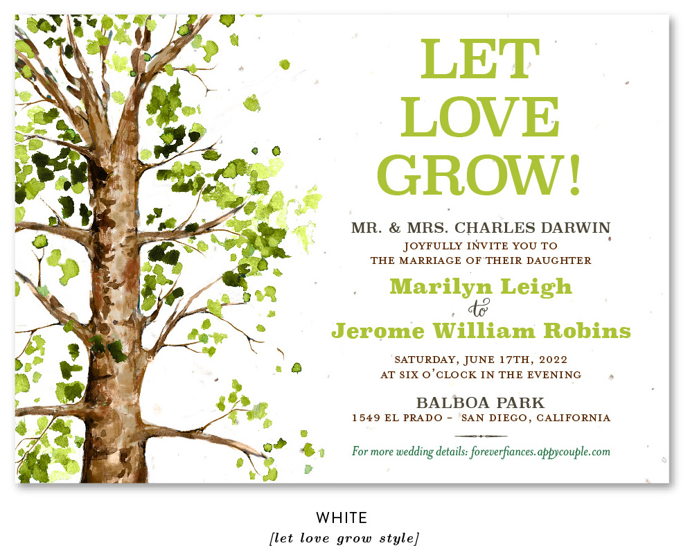 elm tree with Let love grow message