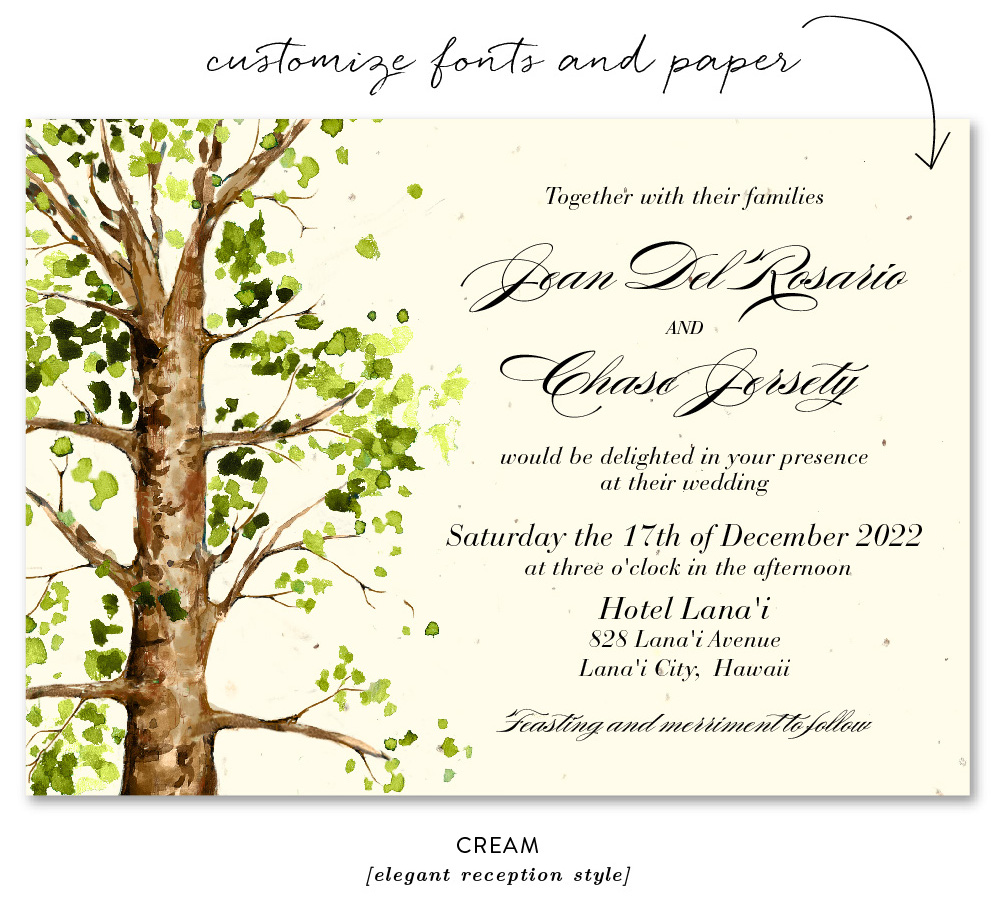 elm tree invitation cream paper