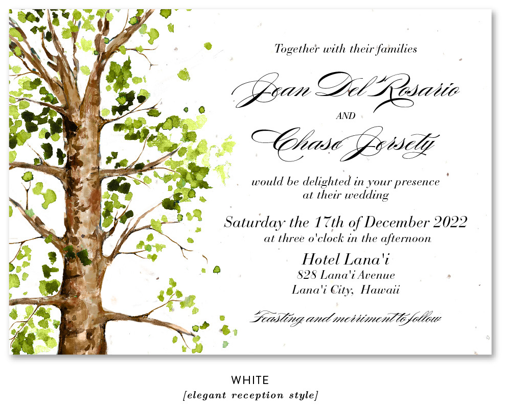 ancien elm tree wedding invitation