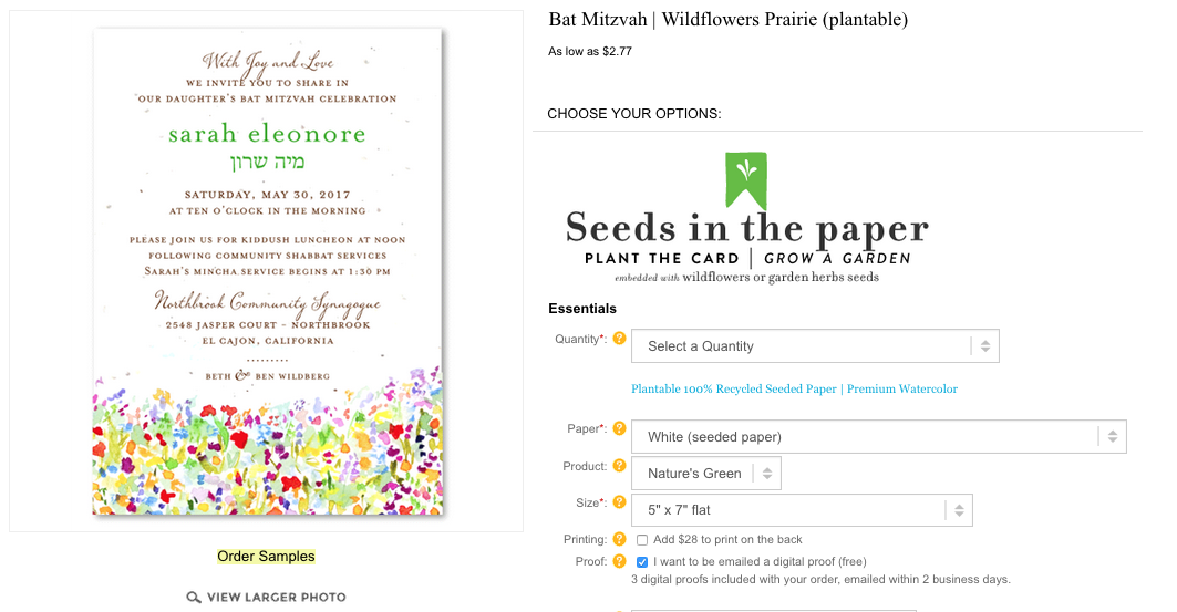 Wildflower Prairie invitations for bat mitzvah