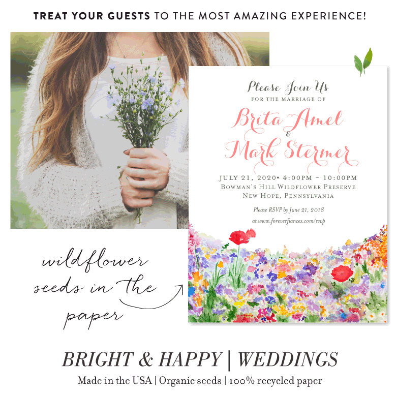 Bright and Happy wildflower wedding save the date cards
