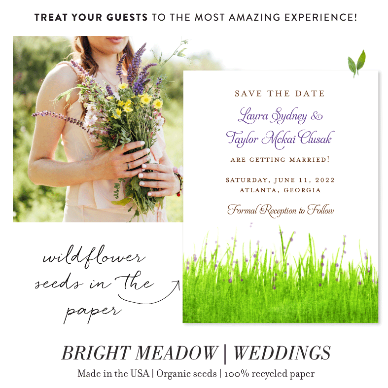 Bright Meadow green wedding save the date cards