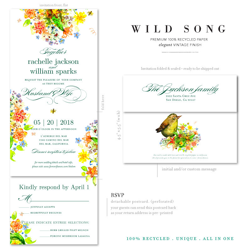 bird bees wildflowers wedding