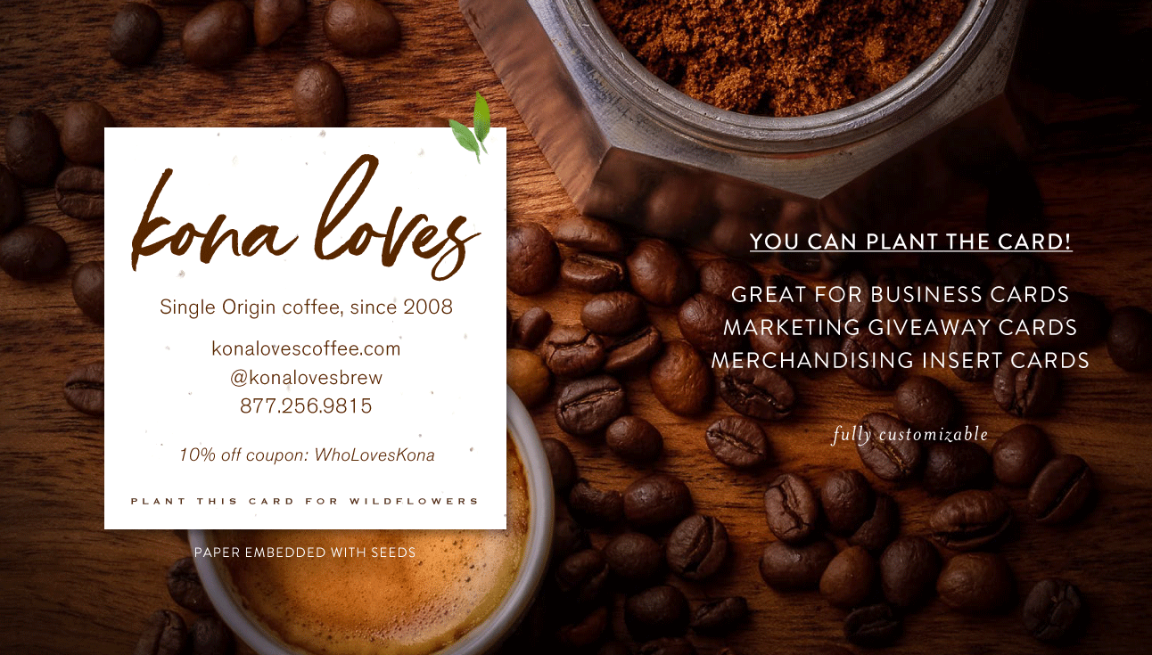 Kona Loves Coffee Roaster Business Cards