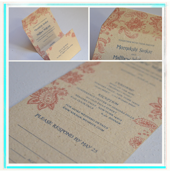 Indian Smile brown wedding invitations blue red