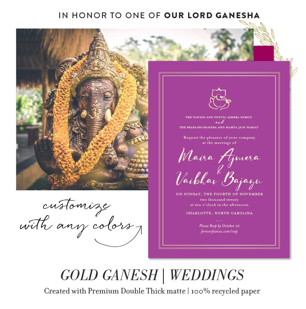 gold ganesha wedding invitations
