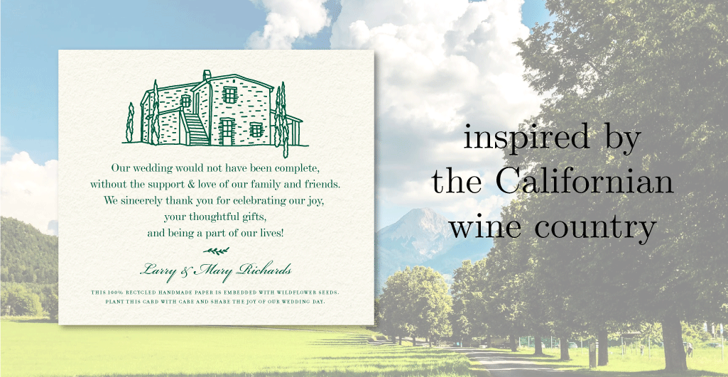 wine country wedding favor cards